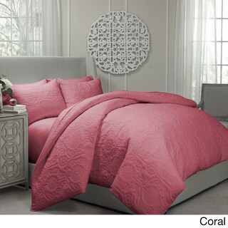Gracewood Hollow Sutherland Quilted Coverlet and Duvet Cover Ensemble (Option: King - Coral)