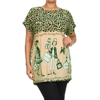 MOA Collection Women's Pink/Khaki Polyester/Spandex Plus-size Fashion Top