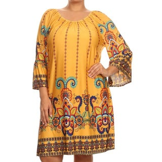 MOA Collection Women's Plus Size Multi-color Polyester, Spandex Paisley Dress
