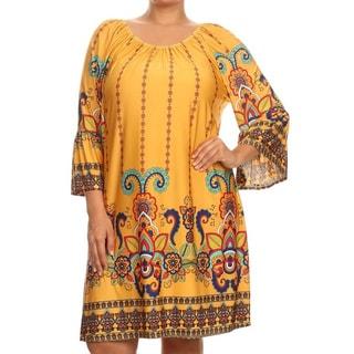 MOA Collection Women's Plus Size Multi-color Polyester, Spandex Paisley Dress