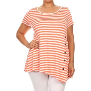 MOA Collection Women's Plus-size Multi-colored Rayon Striped Button Tab Top