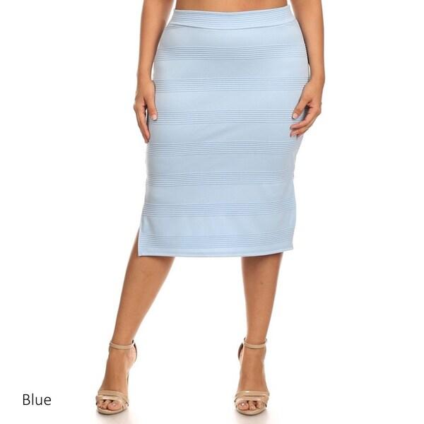 6bc86b6bb0c Shop MOA Collection Women s Solid Color Plus-size Pencil Skirt ...