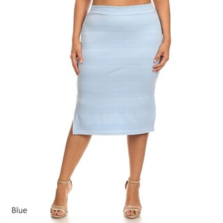 MOA Collection Women's Solid Color Plus-size Pencil Skirt
