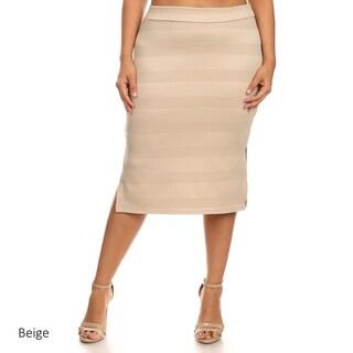 MOA Collection Women's Solid Color Plus-size Pencil Skirt