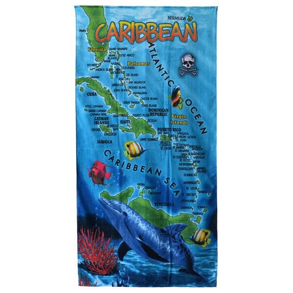 Shop Caribbean Map Beach Towel 30 Quot X60 Quot Free Shipping