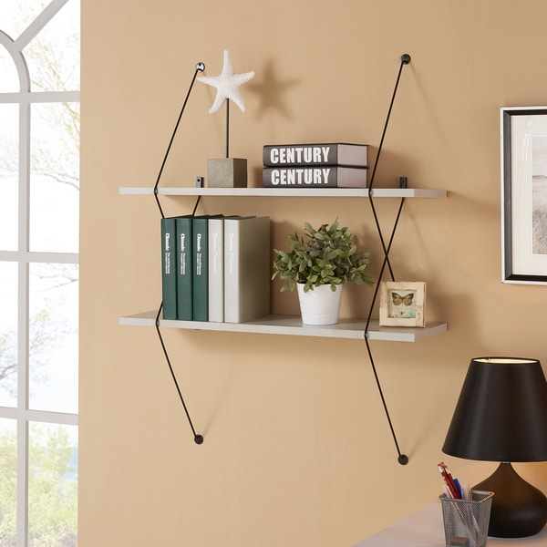 Danya B. Contemporary Two Level Grey Shelving System with Black Wire Brackets