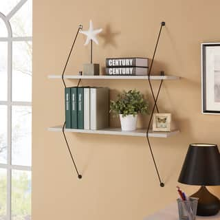 Danya B Contemporary Two Level Grey Shelving System with Black Wire Brackets|https://ak1.ostkcdn.com/images/products/11878251/P18775779.jpg?impolicy=medium