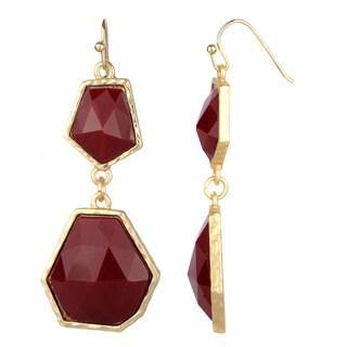 Red Geometric Double Drop Earrings