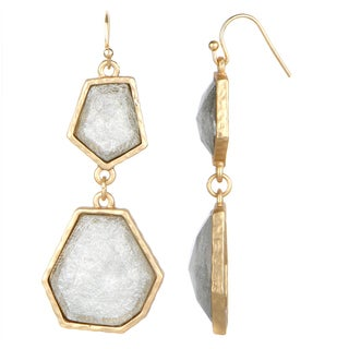 Silver and Gold Geometric Double Drop Earrings