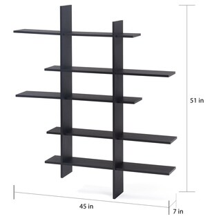 Danya B. Five Level Black Asymetric Wall Shelf