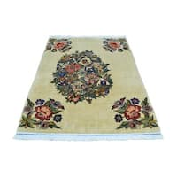 Open Field Persian Sarouk Hand Knotted Oriental Signed Rug - 3' x 5'