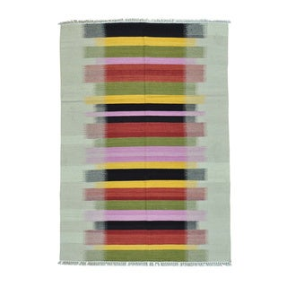 Multicolored Dazzle Design Kilim Flat Weave Hand Woven Rug