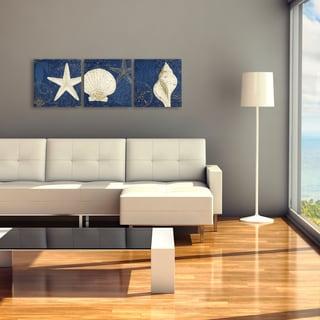 Pela Studio 'Coastal Moonlight Teal' 3 Panel Art Set