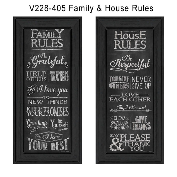 """""""Family and House Rules"""" Collection By Susan Ball, Printed Wall Art, Ready To Hang Framed Poster, Black Frame"""
