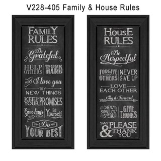 Susan Ball 'Family and House rules' Framed Art