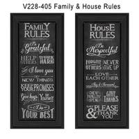 """Family and House Rules"" Collection By Susan Ball, Printed Wall Art, Ready To Hang Framed Poster, Black Frame"