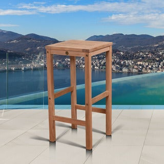Amazonia Hartford Teak Backless Patio Barstool