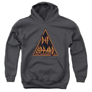 Def Leppard/Distressed Logo Youth Pull-Over Hoodie in Charcoal