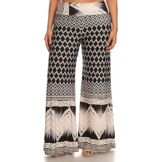 MOA Collection Women's Black and White Plus-sized Border-print Pants