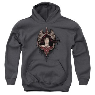 Batman V Superman/Winged Goddess Youth Pull-Over Hoodie in Charcoal