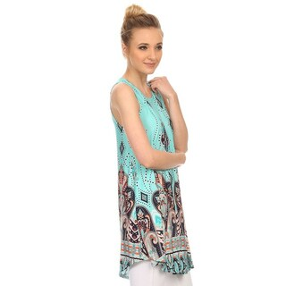 MOA Collection Women's Multi-colored Polyester Crewneck Tank Top