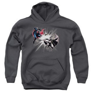 Batman V Superman/Fight Burst Youth Pull-Over Hoodie in Charcoal