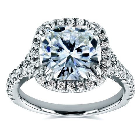 Annello by Kobelli 14k White Gold 3 1/3ct TGW Cushion Moissanite and 1/2ct Diamond Halo Cathedral Ring