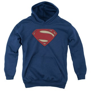 Batman V Superman/Super Movie Logo Youth Pull-Over Hoodie in Navy