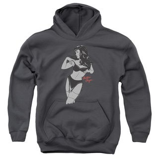 Bettie Page/Soft Vogue Youth Pull-Over Hoodie in Charcoal