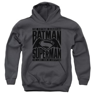 Batman V Superman/Title Fight Youth Pull-Over Hoodie in Charcoal