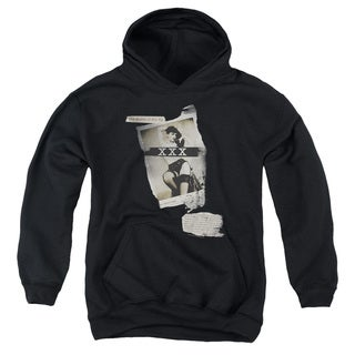 Bettie Page/Newspaper & Lace Youth Pull-Over Hoodie in Black