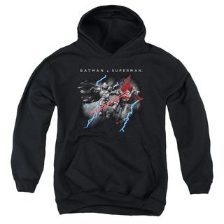 Batman V Superman/Lightning Fight Youth Pull-Over Hoodie in Black