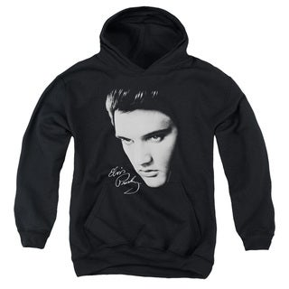 Elvis/Face Youth Pull-Over Hoodie in Black