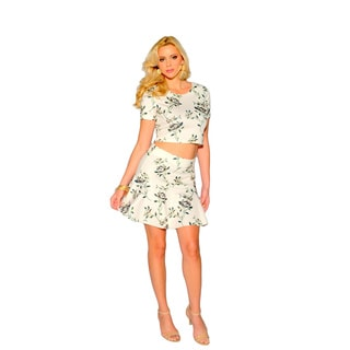 Sara Boo Women's Floral Off-white Polyester/Spandex Crop Top and Skirt Set