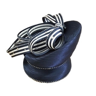 Swan Hat Women's Year-round Designer Couture Satin Ribbon Stripes Cloche