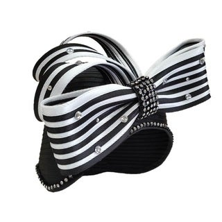 Swan Hat Women's 'All Year Around' Striped-satin Ribbon Rhinestone-embellished Designer Couture Hat