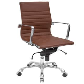 Clearance Carson Carrington Ornes Ribbed Mid Back Terracota Brown Vegan Leather Swivel Office Chair