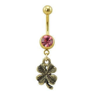 Supreme Jewelry Antique Gold Color Pink Gemstone Four Leaf Clover Belly Ring