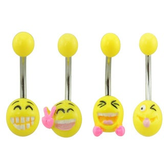 Supreme Jewelry 3-D Emoji Belly Ring (Pack of 4)