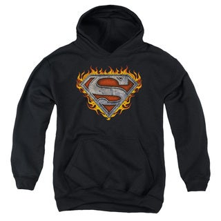 Superman/Iron Fire Shield Youth Pull-Over Hoodie in Black