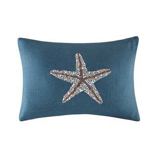 Madison Park Starfish Embroidered Linen Navy Oblong Pillow