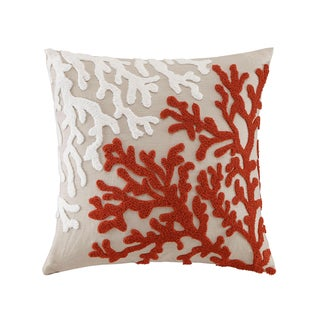 Madison Park Coral Embroidered Linen Linen Square Pillow