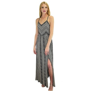 Relished Women's Black Rayon Tribal Maxi Slit Sundress
