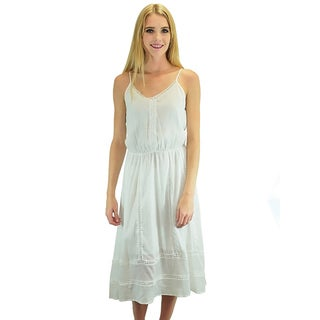 Relished Women's White Rayon Midi Sundress