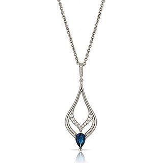 Kabella Sterling Silver Silver Necklace with Blue Cubic Zirconia Teardrop Pendant