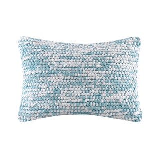 Madison Park Heathered Handloom Blue Oblong Pillow
