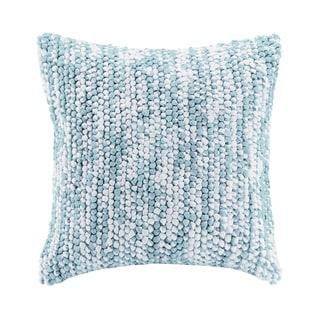Madison Park Heathered Handloom Blue Square Pillow