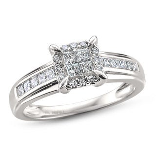 Montebello Jewelry 14k White Gold 1/2ct TDW Princess-cut Composite-set Engagment Ring