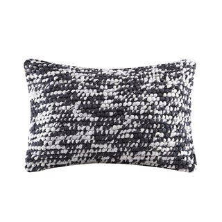 Madison Park Heathered Handloom Charcoal Oblong Pillow