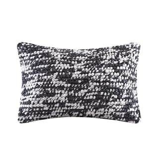 Madison Park Heathered Woven Handloom Charcoal Oblong Pillow